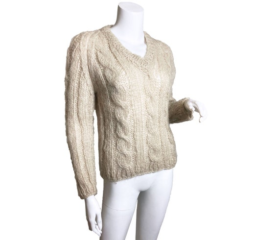 1960s Hand Knit Mohair Cable Knit Sweater