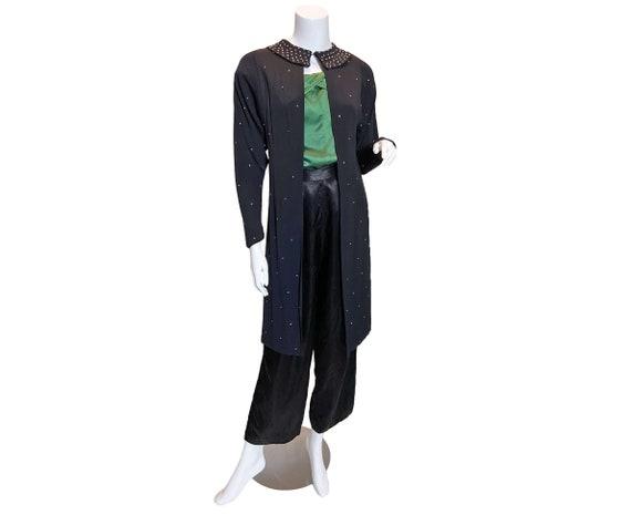 1930s Rhinestone Embellished Black Rayon Crepe Jac