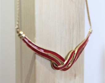 beautiful costume jewelry for gifting 20 /% Off UK FREE SHIPPING Gold tone Red enamel ribbon design choker 90s vintage necklace
