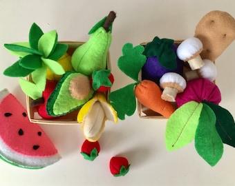 Felt Food | Montessori Toys | Avocado | Waldorf Toys | Fake Food | Plushie | Miniature Food | Food Toy | Birthday Gift | Vegan Gift