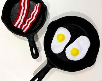 Felt Food | Play Food | Food Toy | Play Pretend | Waldorf Toys | Play Kitchen | Montessori | Bacon Eggs | Educational Toys |Toddler Gift |