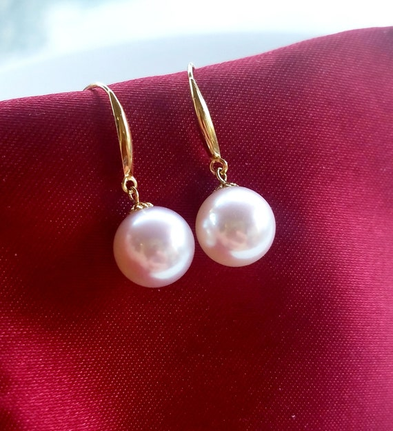 18KT Pink Gold Post with Dangle Cultivated Pearlss and Flower Earring 1 inch