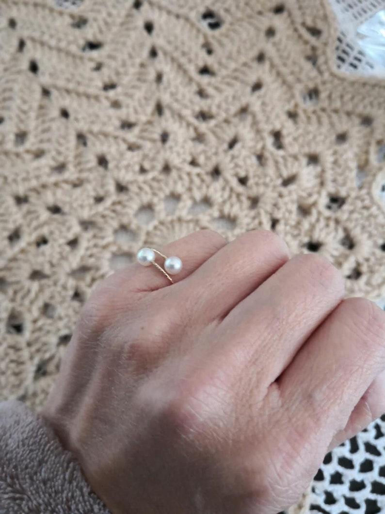 US size 5678 18Kt Gold Akoya Pearl Finger Ring Open End Adjustable Ring