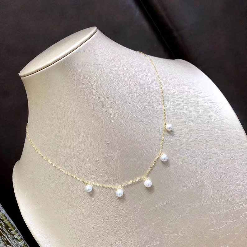 9.5-10MM Natural White Real Akoya Pearl Floating Pendant Necklace