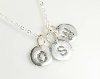 Sterling silver monogram necklace, Initial necklace, hand stamped, three initials, personalized, minimalist necklace, celebrity inspired