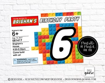 Building blocks Birthday Invitation // Party Invitation // Blocks Birthday Printables // Building Block Party // Blocks party