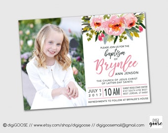 SAME DAY Baptism Invitation Announcement LDS Lds Girl Personalized Printable Floral