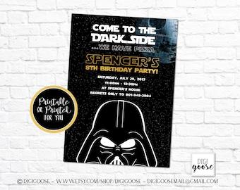 Star Wars Invitation Birthday Invite Printable Or Printed Dark Side