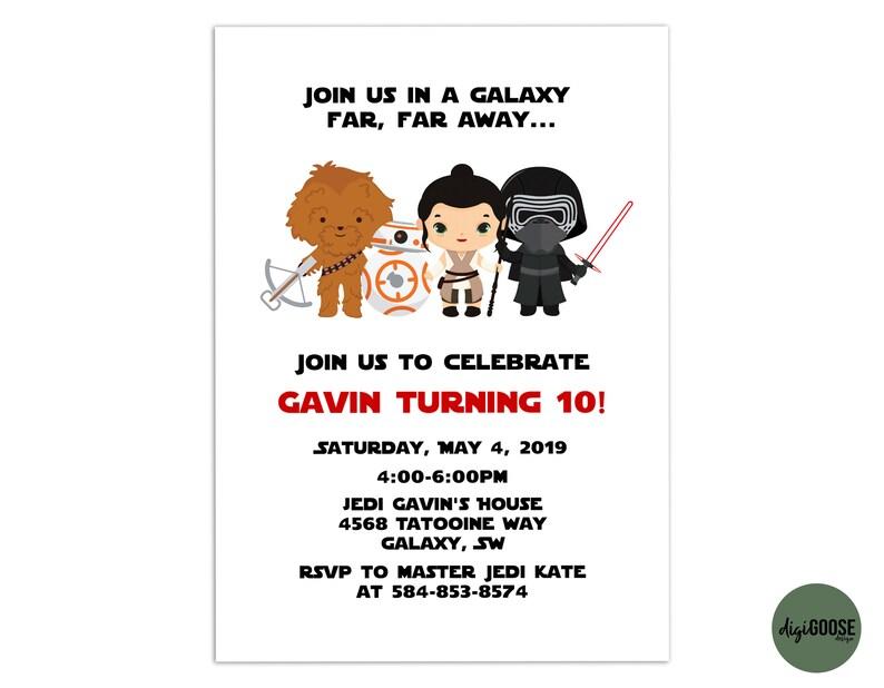 STAR WaRs Invitation TEMPLATE Printable Star Wars Birthday