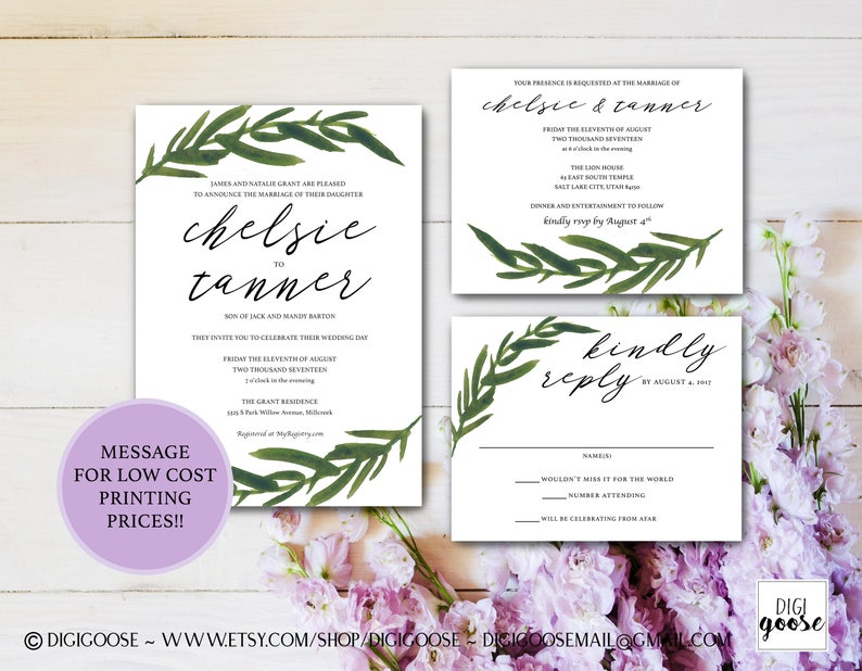image relating to Etsy Wedding Invitations Printable identify Greenery Marriage INVITATION // Printable Wedding day Invitation // Invitation Suite // Intimate Marriage Invites // Foliage Calligraphy