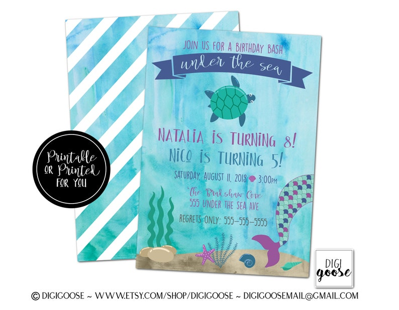 UNDER The SEA Inivitation Mermaid Birthday Invitation