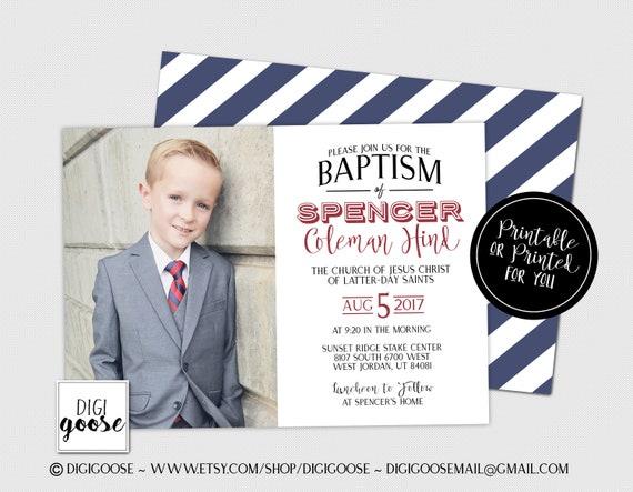 Baptism Invitation Boy baptism invitation Instant edit LDS baptism invitation Baptism announcement Digital download invitation