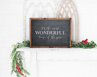 Instant // CLEARANCE // Wonderful time // Printable Wall Hanging // Christmas decor // Christmas mantle // Holiday // Mantle Decor