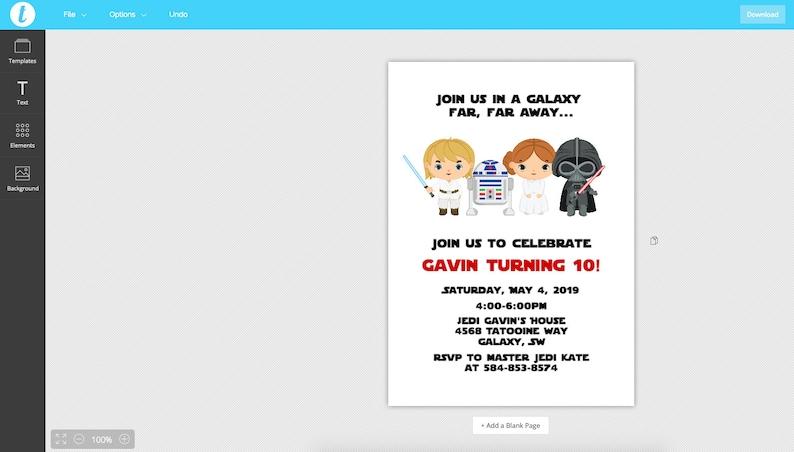 Editable Star Wars Invitation Template Printable Star Wars Birthday Invite Star Wars Star Wars Party Diy Instant Download Templett