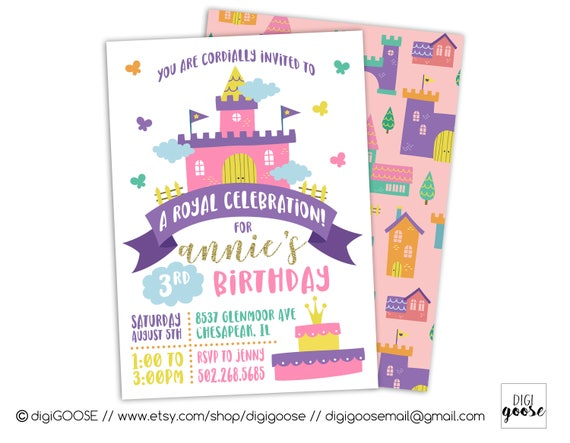 PRINCESS INVITATIONS Princess Birthday Invite