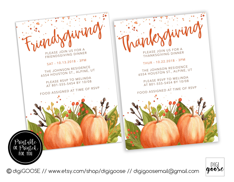 Friendsgiving Dinner Invitation Thanksgiving Invitation