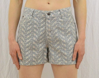 Vintage Floral Gingham Shorts, High Waisted Shorts, Checked Shorts, Size XS-Small, 90's Clothing, Grunge, Tumblr Clothing