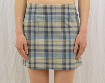 Vintage Plaid Mini Skirt, Size Small, Clueless, Summer Skirt, Blue, 90's Clothing, Punk, Riot Girl