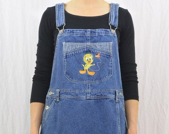 Vintage Tweety Bird Jumper, Size Medium-Large, Looney Tunes, Y2K, Cartoon Clothing, Quirky, Tumblr Clothing, Butterfly, Skort, Overall Dress