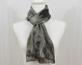Hand Painted Chiffon Silk Scarf, Gray, Black, White, Witch, Goth, Dark Mori, Wearable Art, One of a Kind, Minimalist, Gift for Her