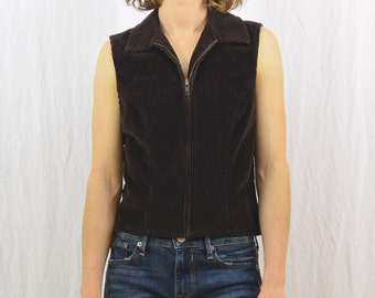 Vintage Brown Corduroy Vest, Size XS-Small, 90's Clothing, Grunge, Hipster, Indie Clothing, Beatnik