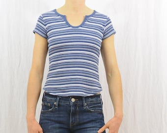 Vintage Striped Ribbed 90's Shirt, Size XXS-XS, Grunge, Teen, My So Called Life, 90's Clothing, Tumblr Clothing