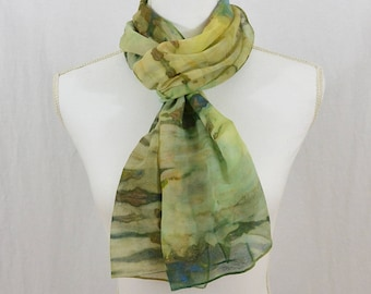Hand Painted Chiffon Silk Scarf, Greens, Earthy, Hippie, Festival Clothing, Mori Girl, Abstract Scarf, OOAK, Gift for her, Mother's Day Gift