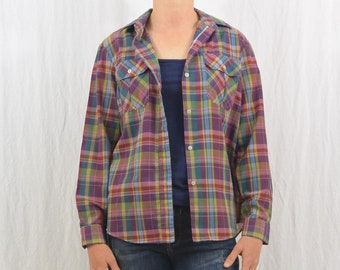 Vintage Thin Plaid Button Down, Size Medium, Rustic, 80's Clothing, Collared Shirt, Hipster, Indie Clothing