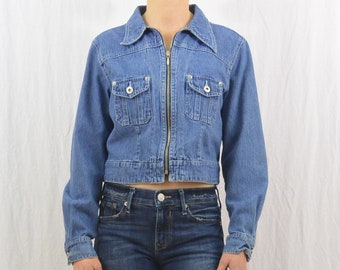 Vintage Cropped Denim Jacket, Size Small- Medium, 90's Clothing, Grunge, Hipster, Indie Clothing, On Trend