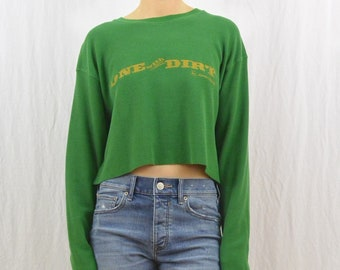 Upcycled Cropped Thermal, John Deer, One With Dirt, Nature Lover, Farmer, Size Medium-Large, Oversized, Outdoor Clothing