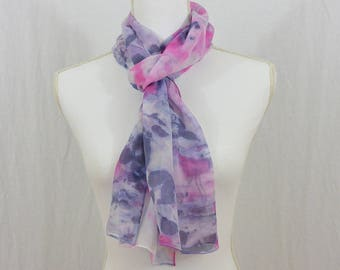 Hand Painted Chiffon Silk Scarf, Pink and Purple, Watercolor Scarf, One of a Kind, Whimsical, Fairy, Hippie, Abstract Scarf, Gift for her