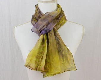 Hand Painted Chiffon Silk Scarf, Chartreuse Green, Lavender, Purple, Earthy, Mori Girl, Artsy, Gift for her, Boho, One of a Kind