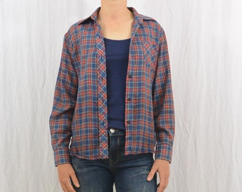 Vintage Paper Thin Plaid Button Down Shirt, Size Small,  70's-80's Clothing, Farm, Rustic, Hipster, Indie Clothing