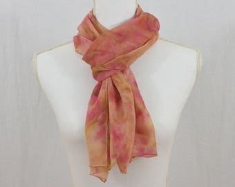 Hand Painted Chiffon Silk Scarf, Pink, Light Brown, Earthy, Hippie, Boho, Festival Clothing, Gift for her, OOAK, Abstract Scarf