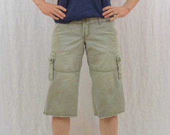 Vintage Green Cargo Shorts, Size XS, Long Shorts, Squeeze, 90's Clothing, Distressed, Grunge, Riot Girl, Punk