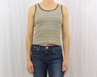 Vintage 90's Striped Tank Top, Size XS-Small, Grunge, 90's Clothing, Cropped Fit, Tumblr Clothing, Ribbed Tank Top