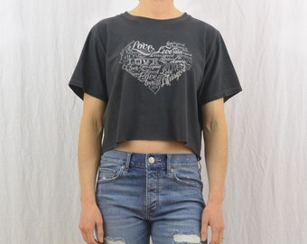 Vintage Love Crop Top, Size Medium-Large, Heart, Good Vibes, Upcycled, OOAK, Hippie, Hipster