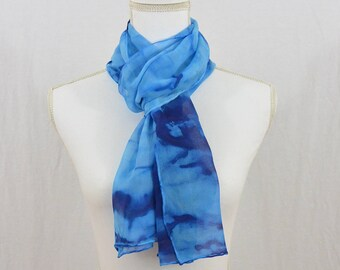 Hand Painted Chiffon Silk Scarf, Blues, One of a Kind, Gift for her, Mother's Day Gift, Abstract Scarf, Accessories, Hippie, Festival Scarf