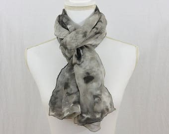 Hand Painted Chiffon Silk Scarf, Gray and Black, Goth, Dark Mori, OOAK, One of a kind, Artsy, Minimalist, Gift for her, Mother's Day Gift