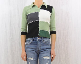 Vintage Patchwork Shirt, Size XS-Small, 90's Clothing, Colorblock, Cropped, Stitched, Collared Shirt, Mint Green