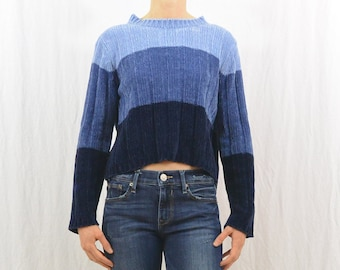 Vintage Blue Colorblock Sweater, Cropped Sweater, Size XS-Small, 90's, On Trend, Sporty Stripes, Tumblr Clothing, Y2k