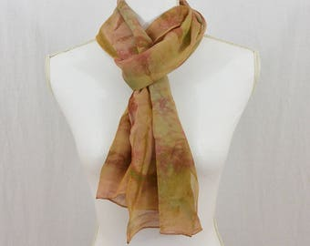 Hand Painted Chiffon Silk Scarf, Earthy, Green, Mauve, OOAK, Gift for her, Mori Girl, Watercolor Scarf, Abstract Scarf, Mother's Day Gift