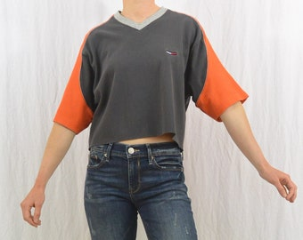 Vintage Ribbed Tommy Hilfiger Crop Top, Size Medium-Large, Oversized, Y2K, Colorblock, Sporty, Upcycled, OOAK, Tumblr Clothing
