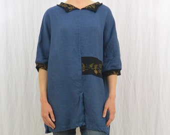 Oversized Linen Top, Size Small-Medium, Hippie, 90's Clothing, Artsy, Artist Clothing, Collared Shirt, Blue