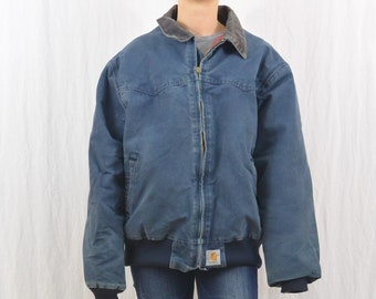 Vintage Carhartt Jacket, Size XXL, Unisex, Farmer, Workwear, Blue, Corduroy Collar, Men's, Tumblr Clothing