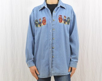 Vintage Oversized Denim Cat Shirt, Cats with Sunglasses, Cool Cats, Size Medium-Large, Oversized, Quirky, Cat Lady, 90's Clothing