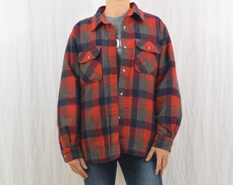 Vintage Quilted Flannel Jacket, Size Large, Grunge, Retro, Farmer, Workwear, Tumblr Clothing