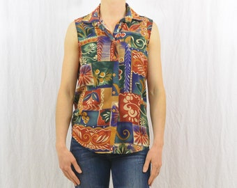 Vintage 90's Abstract Sleeveless Button Down Shirt, Size Small, Spring and Summer Clothing, Tumblr Clothing