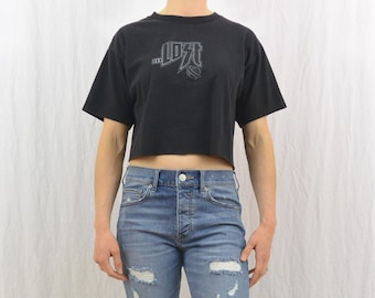 Upcycled Lost Crop Top, Outerspace, OOAK, Quirky, Size Small-Medium, Grunge, Upcycled, Tumblr Clothing