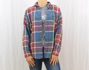 Vintage Flannel Shirt, Size Medium, Workwear, Farmer, Grunge, Thick Flannel, Tumblr Clothing